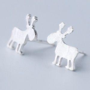 Moose Sterling Silver Stud Earrings